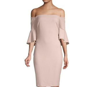 LAUNDRY BY SHELLI SEGAL FLARE SLEEVE CREPE DRESS